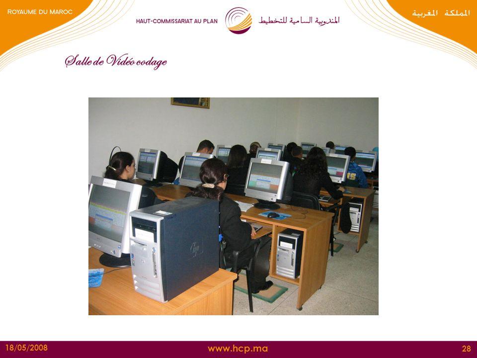 www.hcp.ma 18/05/2008 28 Salle de Vidéo codage