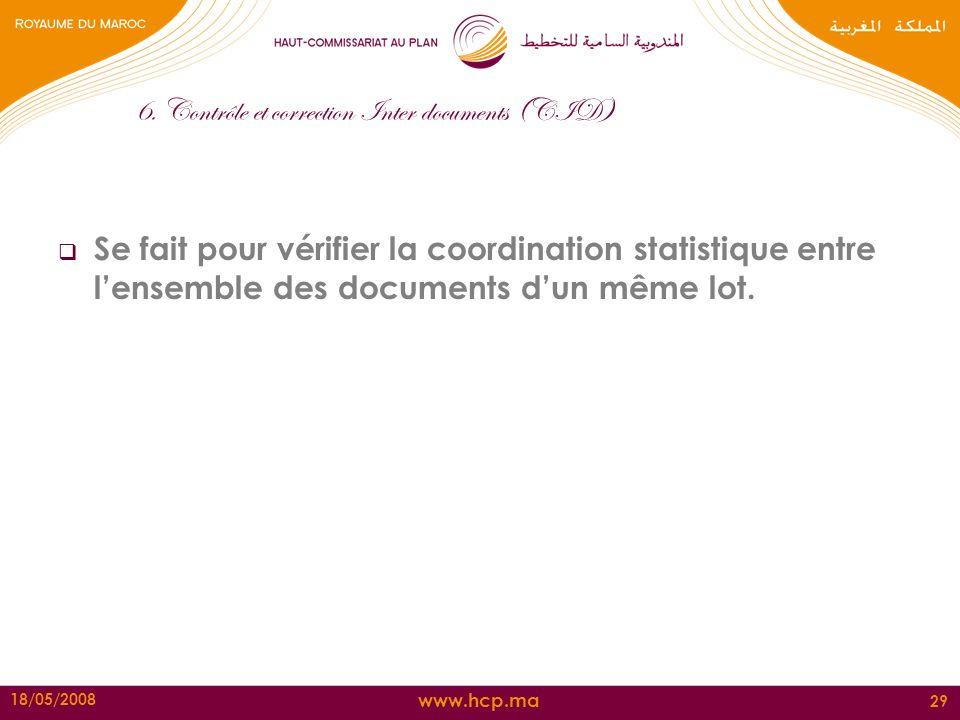 www.hcp.ma 18/05/2008 29 6. Contrôle et correction Inter documents (CID) Se fait pour vérifier la coordination statistique entre lensemble des documen