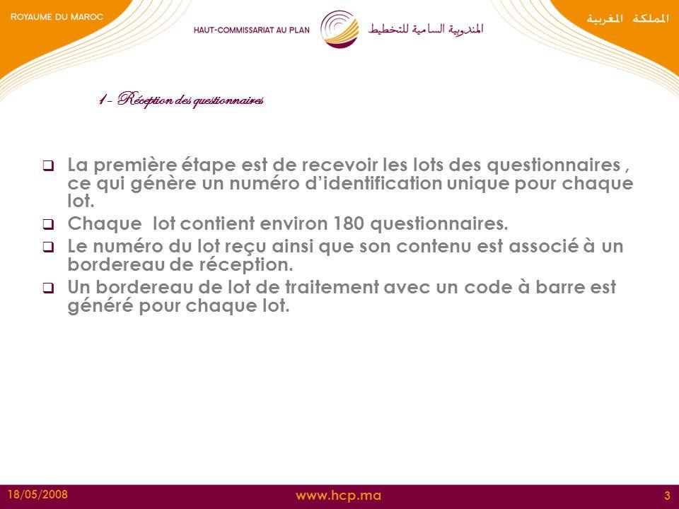 www.hcp.ma 18/05/2008 3 1- Réception des questionnaires La première étape est de recevoir les lots des questionnaires, ce qui génère un numéro didenti