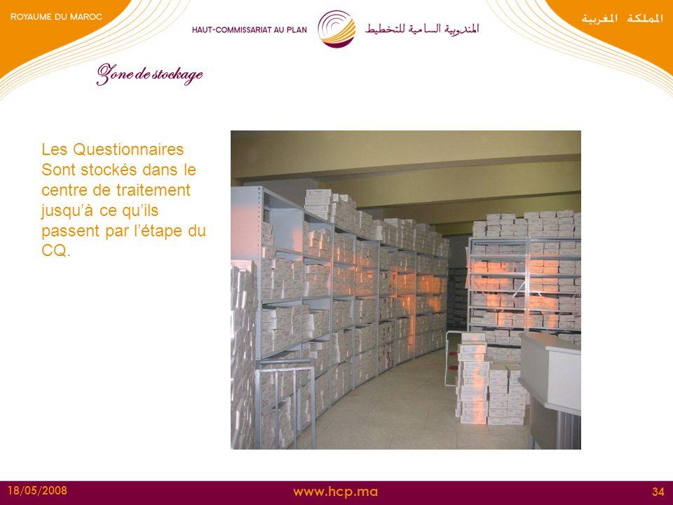 www.hcp.ma 18/05/2008 34 Zone de stockage Les Questionnaires Sont stockés dans le centre de traitement jusquà ce quils passent par létape du CQ.