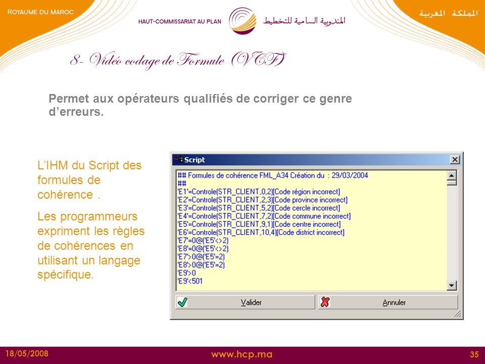 www.hcp.ma 18/05/2008 35 8- Vidéo codage de Formule (VCF) Permet aux opérateurs qualifiés de corriger ce genre derreurs. LIHM du Script des formules d