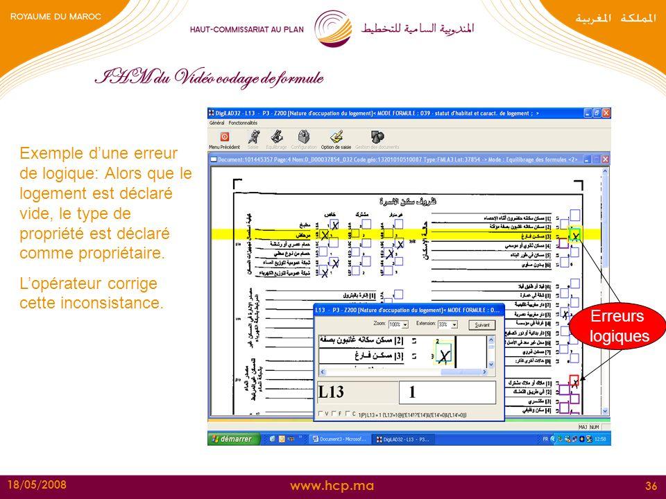 www.hcp.ma 18/05/2008 36 IHM du Vidéo codage de formule Exemple dune erreur de logique: Alors que le logement est déclaré vide, le type de propriété e