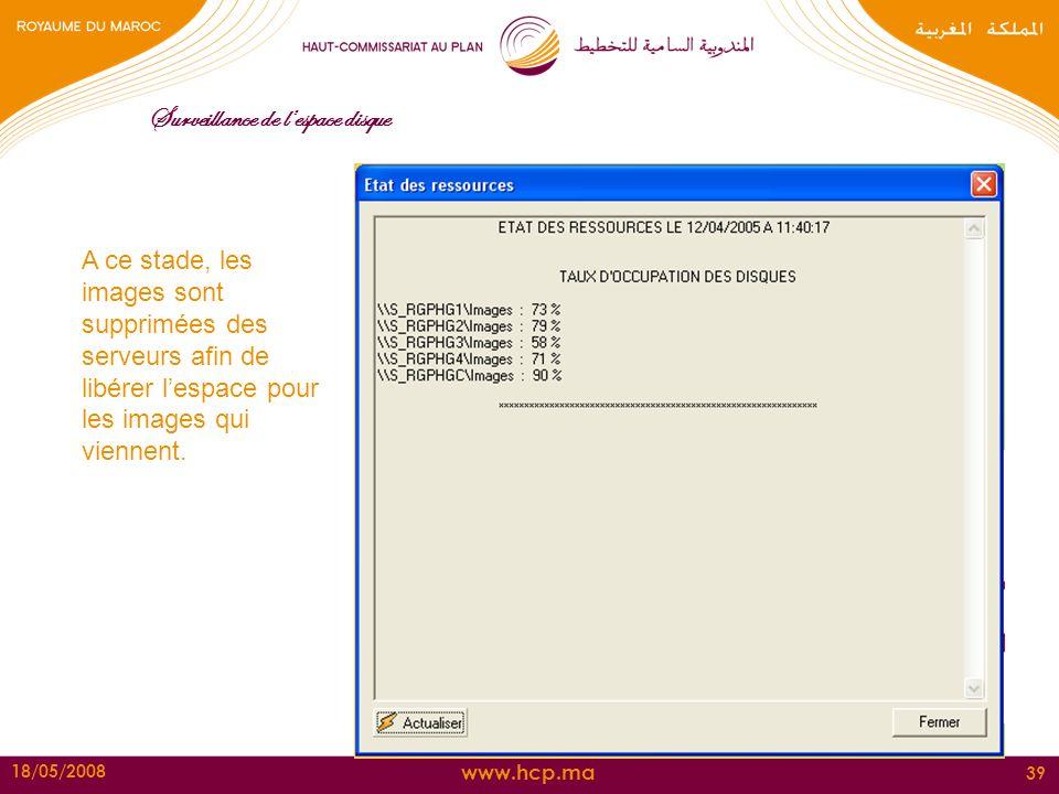 www.hcp.ma 18/05/2008 39 Surveillance de lespace disque A ce stade, les images sont supprimées des serveurs afin de libérer lespace pour les images qu