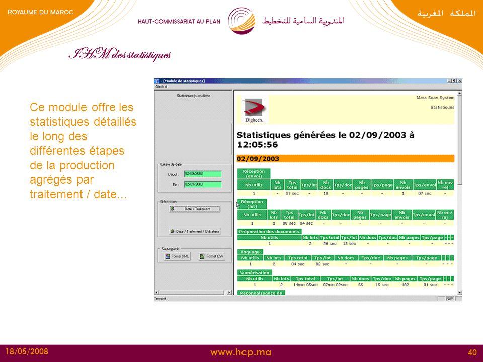 www.hcp.ma 18/05/2008 40 IHM des statistiques Ce module offre les statistiques détaillés le long des différentes étapes de la production agrégés par t