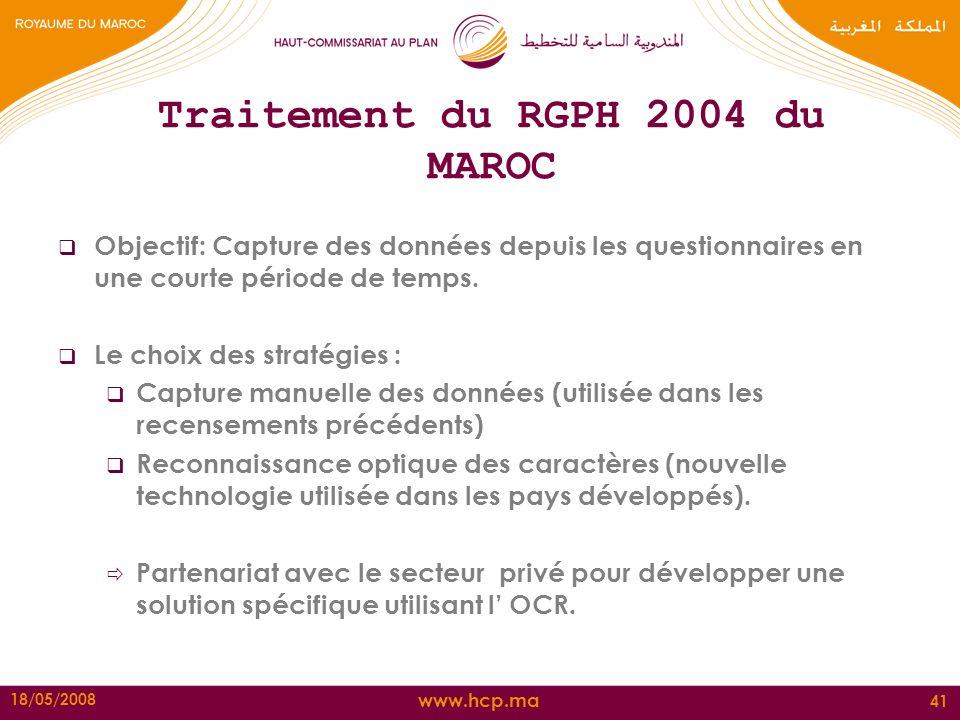 www.hcp.ma 18/05/2008 41 Traitement du RGPH 2004 du MAROC Objectif: Capture des données depuis les questionnaires en une courte période de temps. Le c