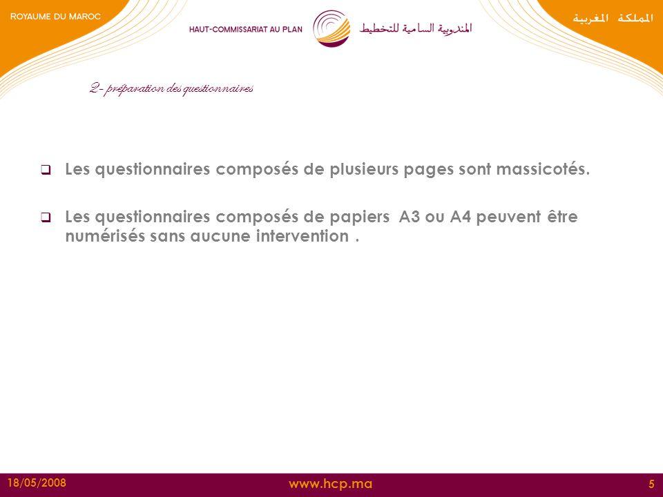 www.hcp.ma 18/05/2008 5 2- préparation des questionnaires Les questionnaires composés de plusieurs pages sont massicotés. Les questionnaires composés