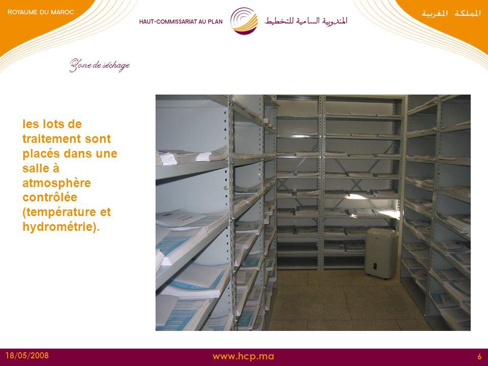 www.hcp.ma 18/05/2008 6 Zone de séchage les lots de traitement sont placés dans une salle à atmosphère contrôlée (température et hydrométrie).