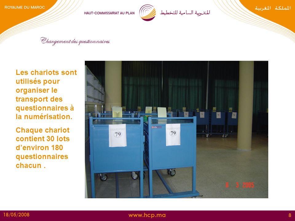 www.hcp.ma 18/05/2008 8 Les chariots sont utilisés pour organiser le transport des questionnaires à la numérisation. Chaque chariot contient 30 lots d