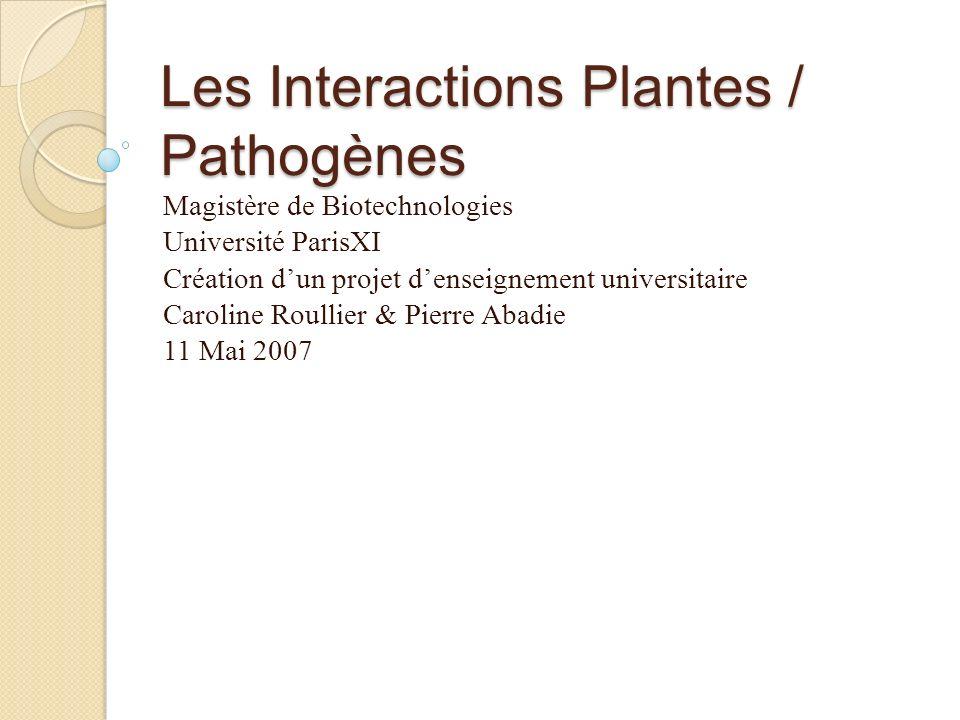 Les Interactions Plantes / Pathogènes Magistère de Biotechnologies Université ParisXI Création dun projet denseignement universitaire Caroline Roullie