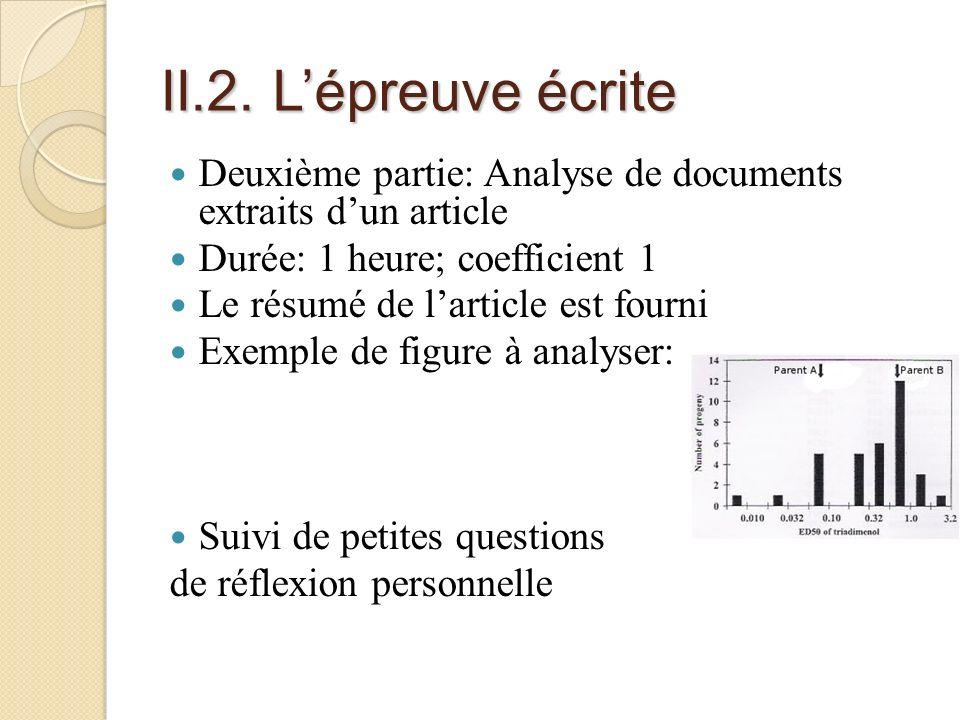 II.2. Lépreuve écrite Deuxième partie: Analyse de documents extraits dun article Durée: 1 heure; coefficient 1 Le résumé de larticle est fourni Exempl