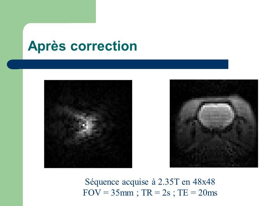 Après correction Séquence acquise à 2.35T en 48x48 FOV = 35mm ; TR = 2s ; TE = 20ms