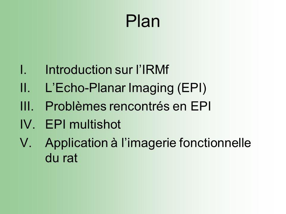 I.Introduction sur lIRMf II.LEcho-Planar Imaging (EPI) III.Problèmes rencontrés en EPI IV.EPI multishot V.Application à limagerie fonctionnelle du rat Plan