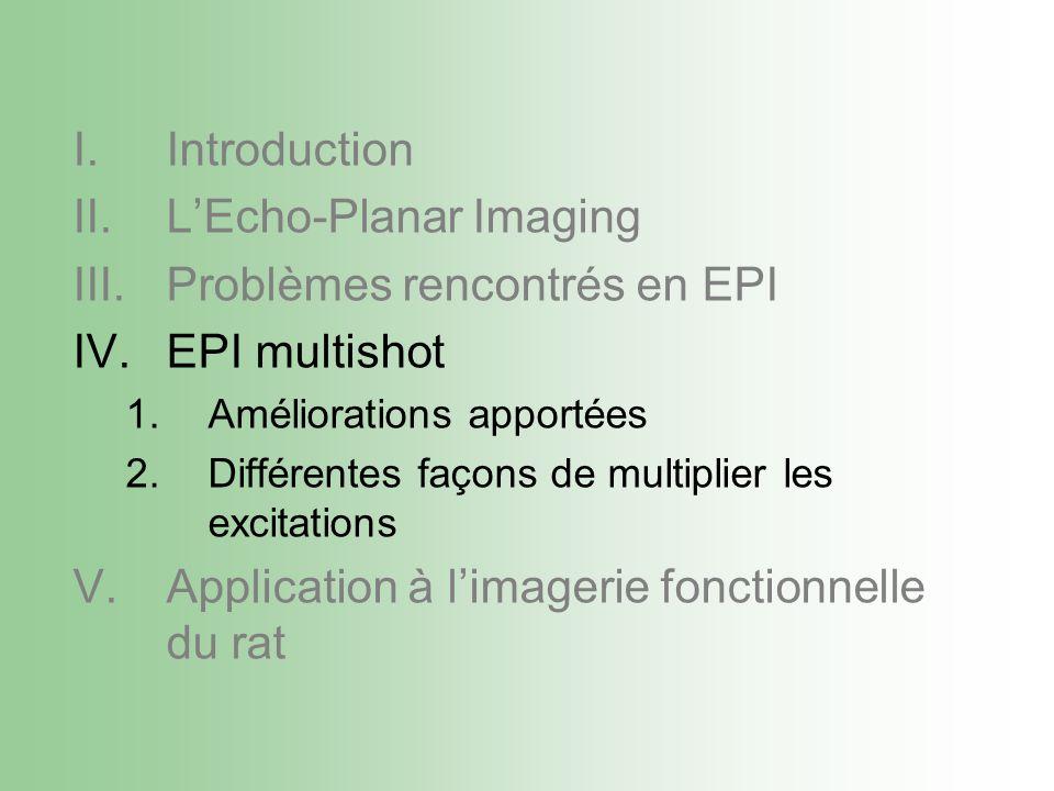 I.Introduction II.LEcho-Planar Imaging III.Problèmes rencontrés en EPI IV.EPI multishot 1.Améliorations apportées 2.Différentes façons de multiplier les excitations V.Application à limagerie fonctionnelle du rat
