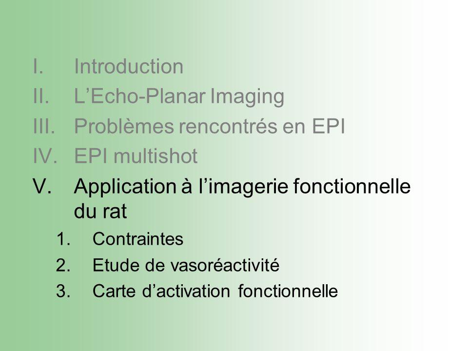 I.Introduction II.LEcho-Planar Imaging III.Problèmes rencontrés en EPI IV.EPI multishot V.Application à limagerie fonctionnelle du rat 1.Contraintes 2.Etude de vasoréactivité 3.Carte dactivation fonctionnelle