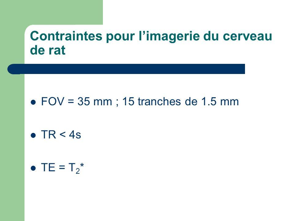 Contraintes pour limagerie du cerveau de rat FOV = 35 mm ; 15 tranches de 1.5 mm TR < 4s TE = T 2 *