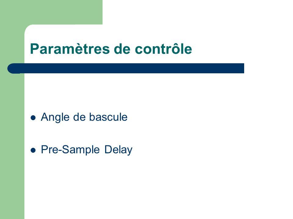 Paramètres de contrôle Angle de bascule Pre-Sample Delay