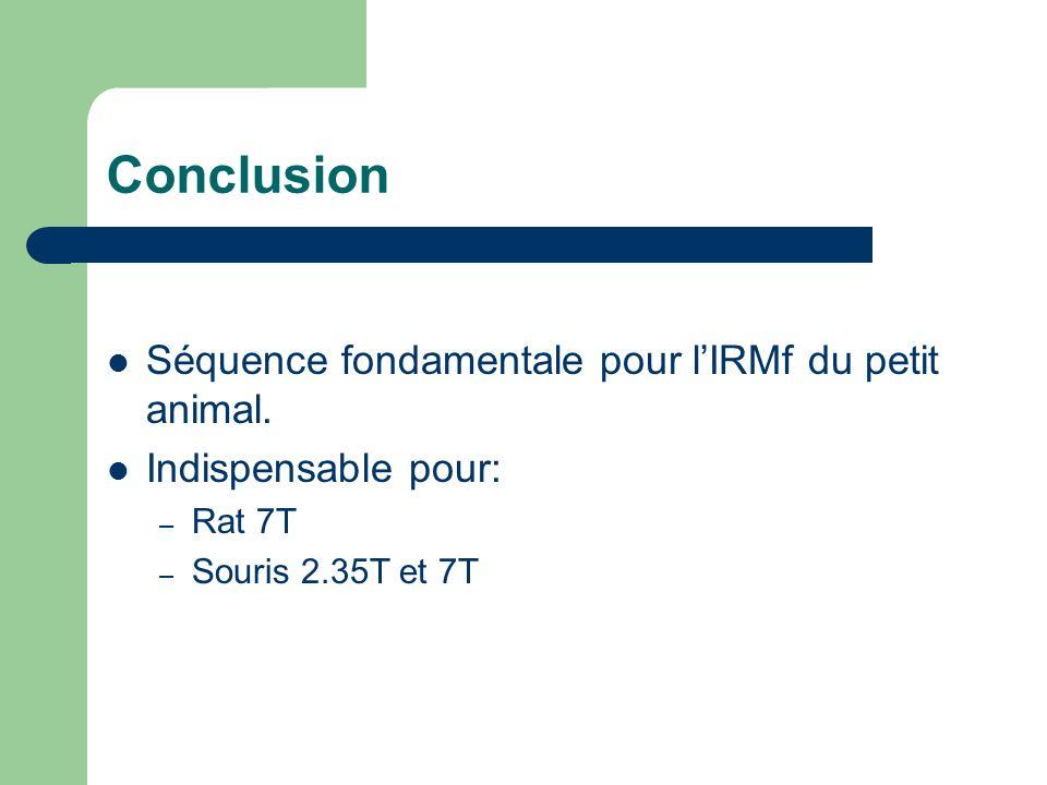 Conclusion Séquence fondamentale pour lIRMf du petit animal.