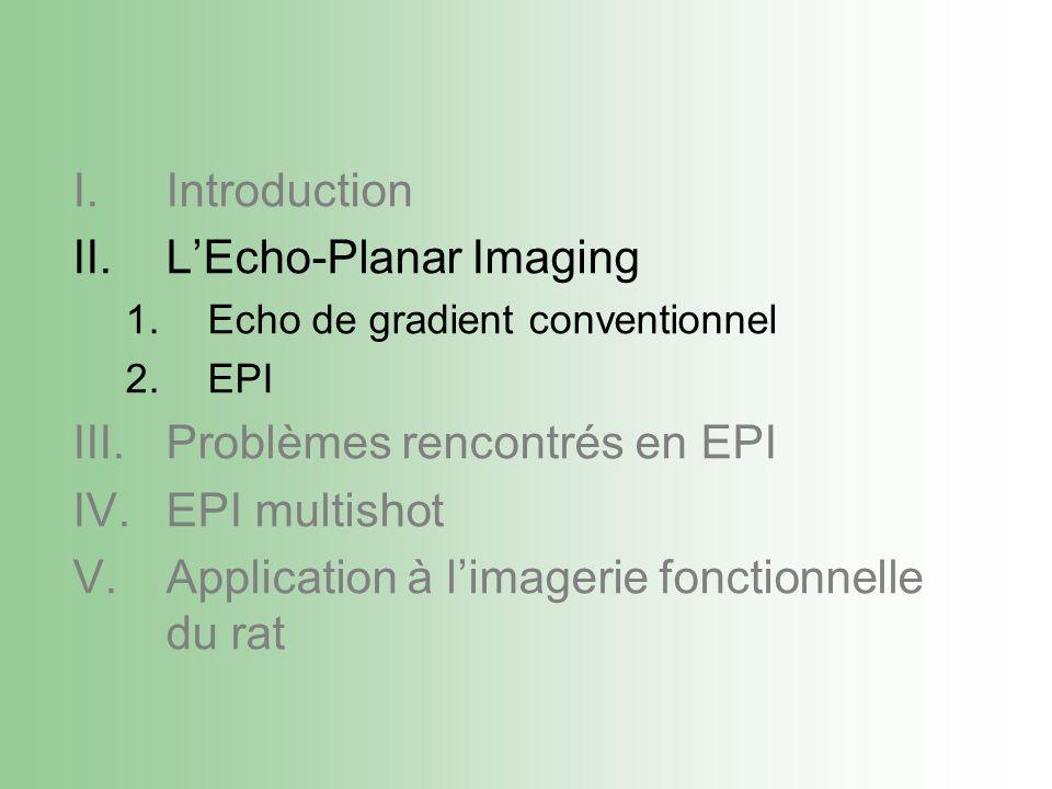 I.Introduction II.LEcho-Planar Imaging 1.Echo de gradient conventionnel 2.EPI III.Problèmes rencontrés en EPI IV.EPI multishot V.Application à limagerie fonctionnelle du rat