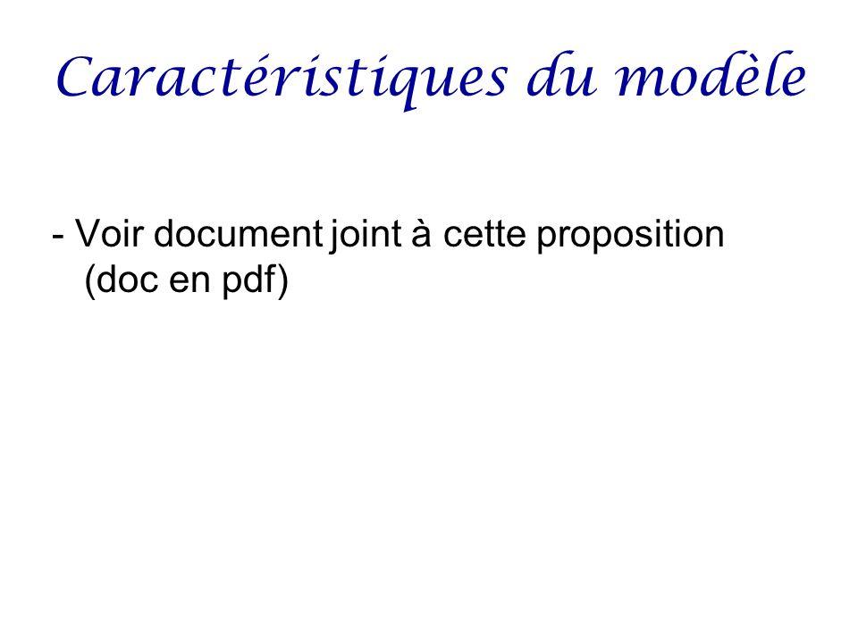 Caractéristiques du modèle - Voir document joint à cette proposition (doc en pdf)
