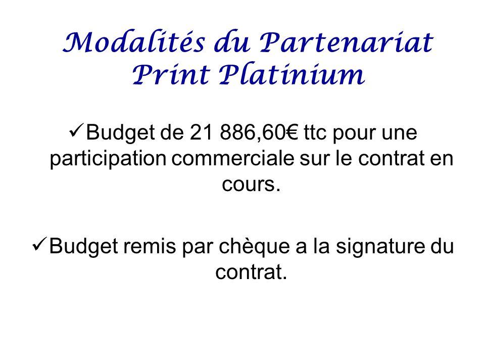 Modalités du Partenariat Print Platinium Budget de 21 886,60 ttc pour une participation commerciale sur le contrat en cours. Budget remis par chèque a