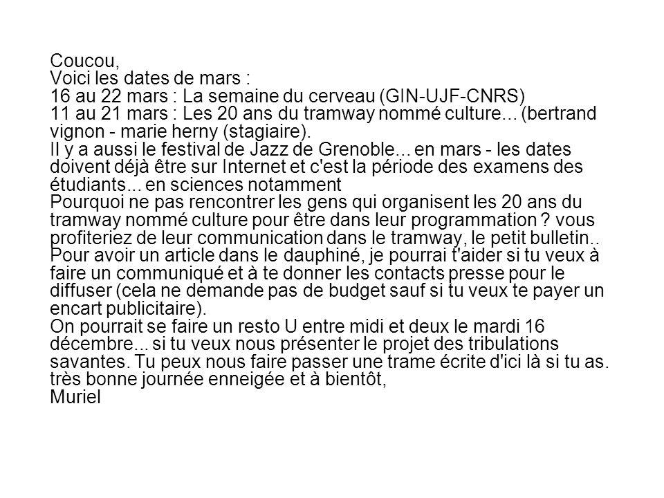Coucou, Voici les dates de mars : 16 au 22 mars : La semaine du cerveau (GIN-UJF-CNRS) 11 au 21 mars : Les 20 ans du tramway nommé culture...