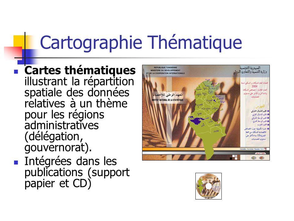 Cartographie Thématique Cartes thématiques illustrant la répartition spatiale des données relatives à un thème pour les régions administratives (délég