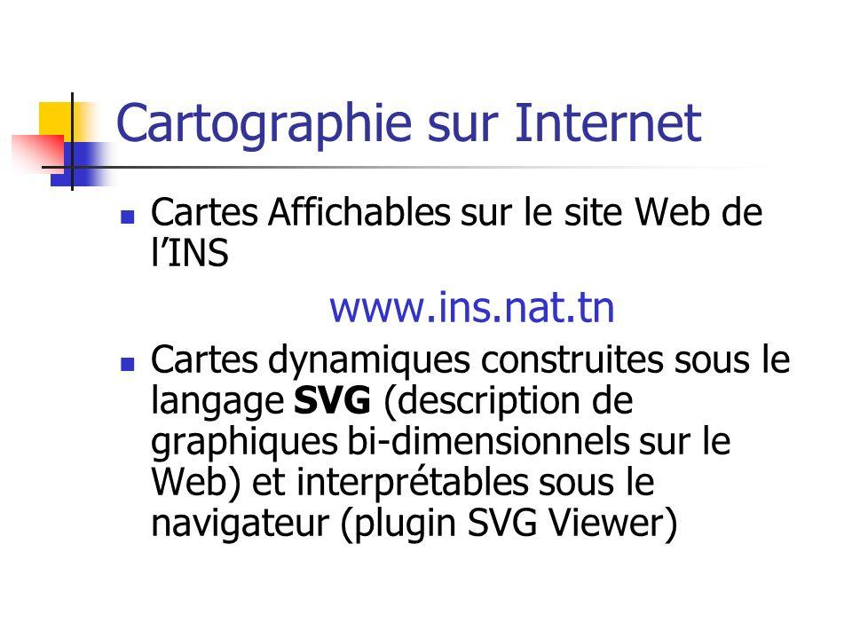 Cartographie sur Internet Cartes Affichables sur le site Web de lINS www.ins.nat.tn Cartes dynamiques construites sous le langage SVG (description de