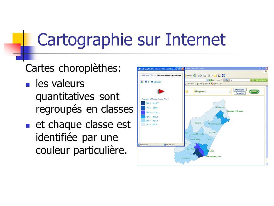 Cartographie sur Internet Cartes choroplèthes: les valeurs quantitatives sont regroupés en classes et chaque classe est identifiée par une couleur par