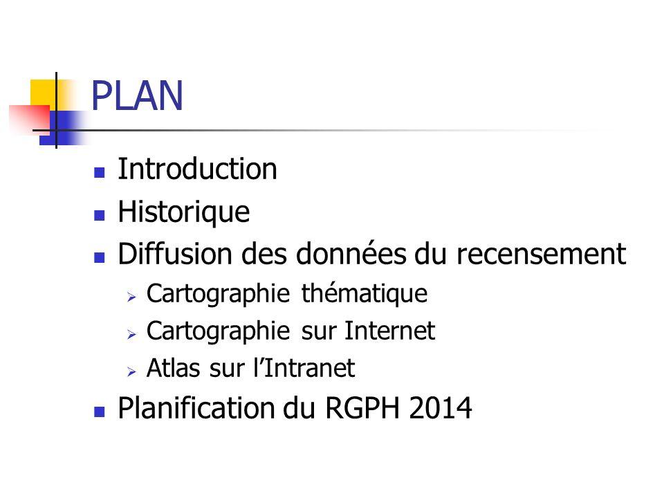 PLAN Introduction Historique Diffusion des données du recensement Cartographie thématique Cartographie sur Internet Atlas sur lIntranet Planification