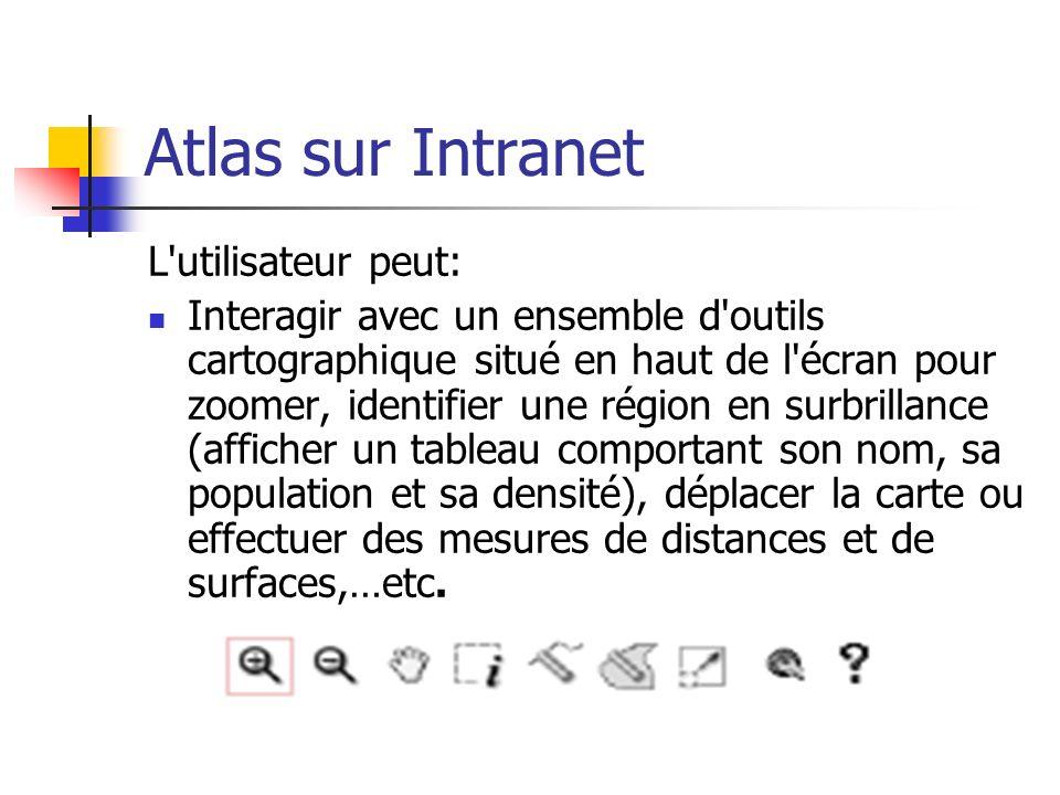 Atlas sur Intranet L'utilisateur peut: Interagir avec un ensemble d'outils cartographique situé en haut de l'écran pour zoomer, identifier une région