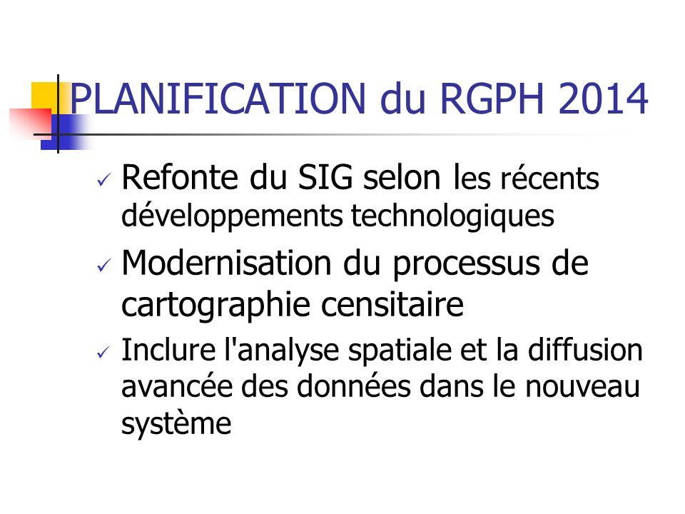PLANIFICATION du RGPH 2014 Refonte du SIG selon l es récents développements technologiques Modernisation du processus de cartographie censitaire Inclu