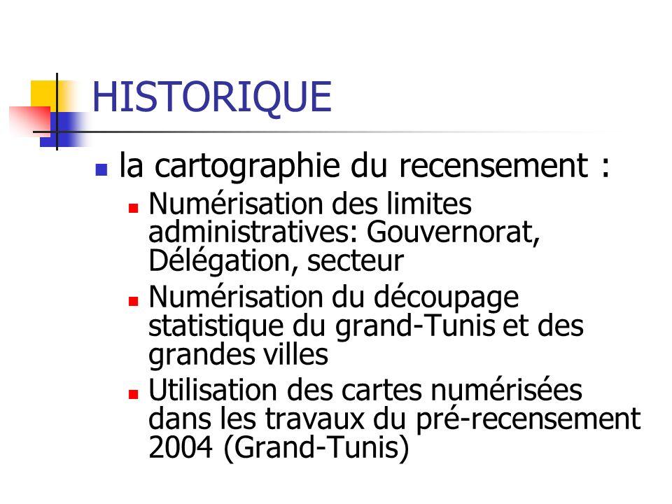 HISTORIQUE la cartographie du recensement : Numérisation des limites administratives: Gouvernorat, Délégation, secteur Numérisation du découpage stati