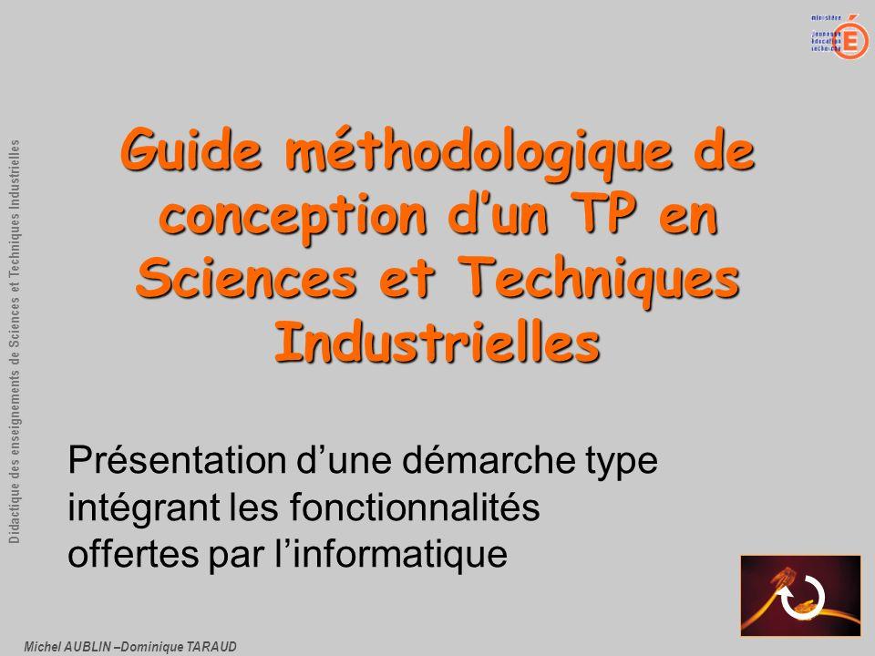 Michel AUBLIN –Dominique TARAUD Didactique des enseignements de Sciences et Techniques Industrielles Guide méthodologique de conception dun TP en Scie