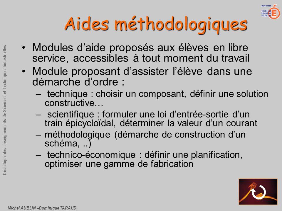 Michel AUBLIN –Dominique TARAUD Didactique des enseignements de Sciences et Techniques Industrielles Aides méthodologiques Modules daide proposés aux