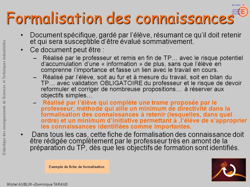 Michel AUBLIN –Dominique TARAUD Didactique des enseignements de Sciences et Techniques Industrielles Formalisation des connaissances Document spécifiq