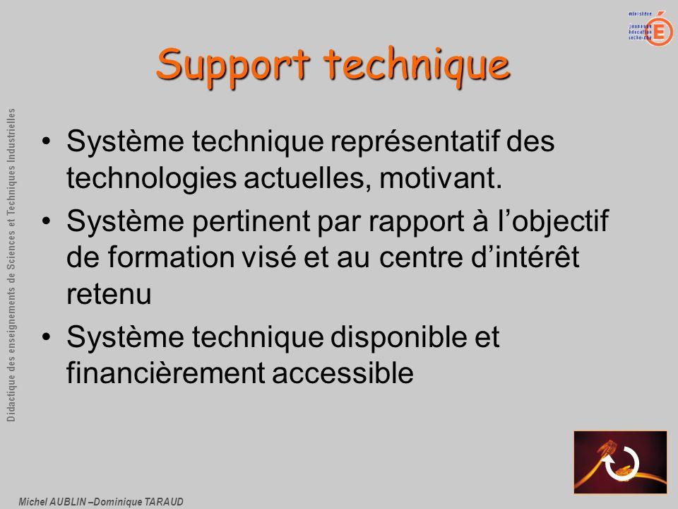 Michel AUBLIN –Dominique TARAUD Didactique des enseignements de Sciences et Techniques Industrielles Support technique Système technique représentatif