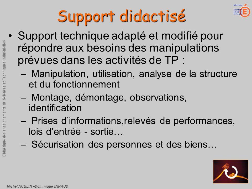 Michel AUBLIN –Dominique TARAUD Didactique des enseignements de Sciences et Techniques Industrielles Support technique adapté et modifié pour répondre