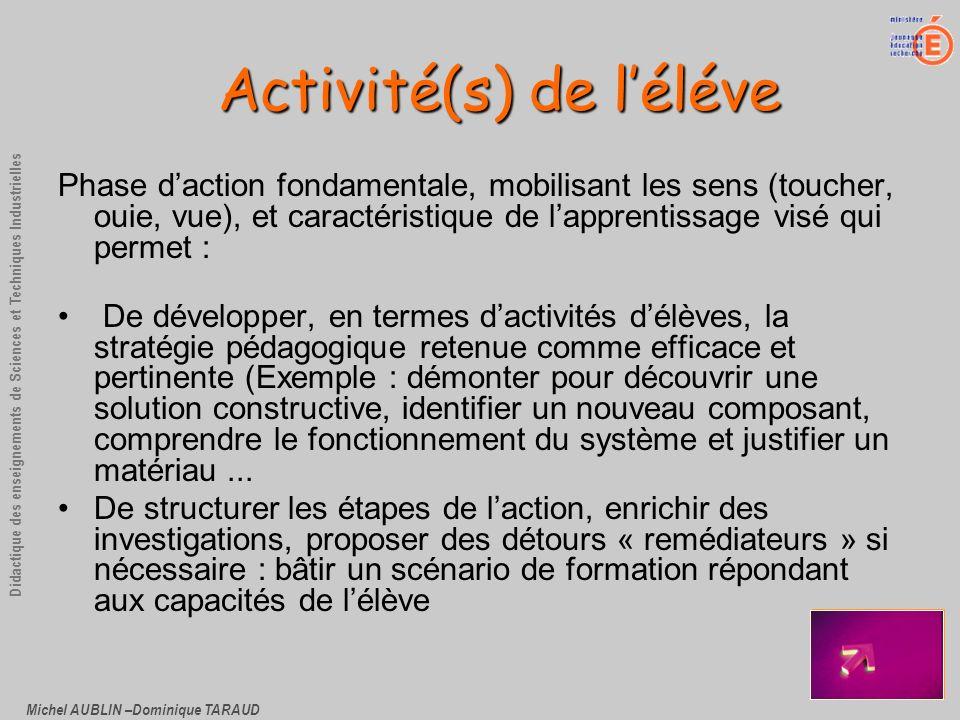 Michel AUBLIN –Dominique TARAUD Didactique des enseignements de Sciences et Techniques Industrielles Activité(s) de léléve Phase daction fondamentale,