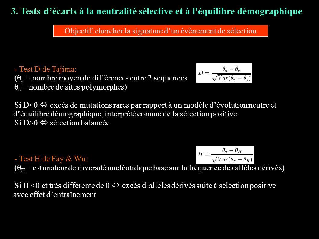 3. Tests décarts à la neutralité sélective et à l'équilibre démographique - - Test D de Tajima: - (θ π = nombre moyen de différences entre 2 séquences