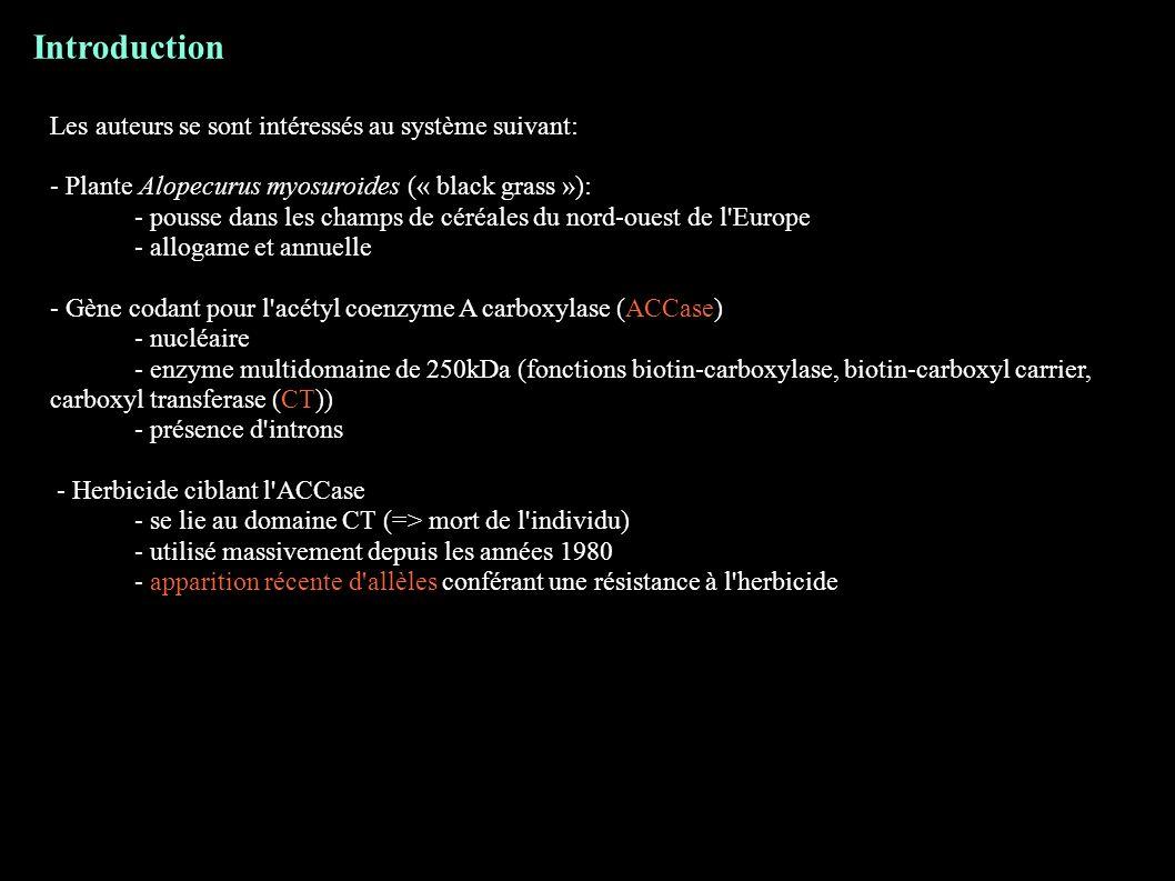 Introduction Les auteurs se sont intéressés au système suivant: - Plante Alopecurus myosuroides (« black grass »): - pousse dans les champs de céréale