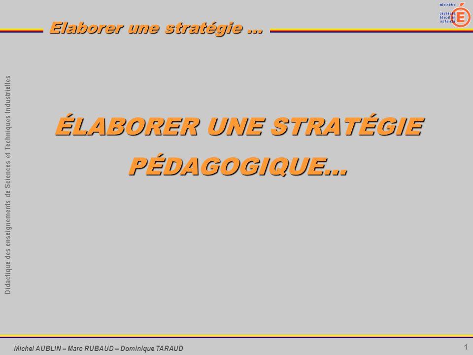 1 Didactique des enseignements de Sciences et Techniques Industrielles Elaborer une stratégie … Michel AUBLIN – Marc RUBAUD – Dominique TARAUD ÉLABORE