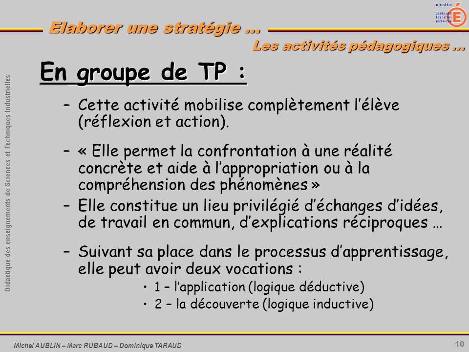 10 Didactique des enseignements de Sciences et Techniques Industrielles Elaborer une stratégie … Michel AUBLIN – Marc RUBAUD – Dominique TARAUD groupe