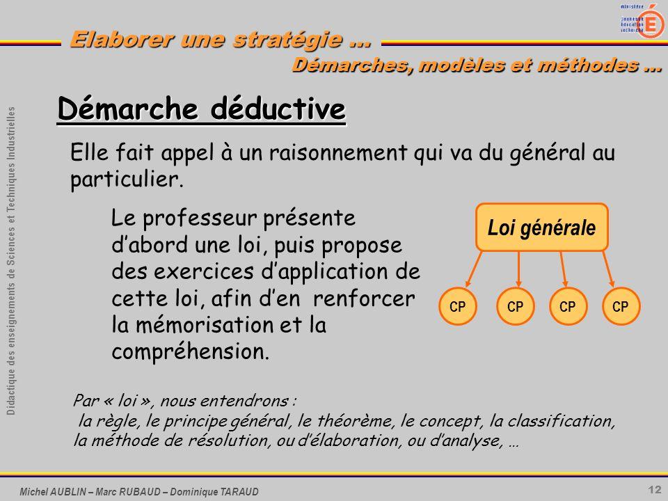 12 Didactique des enseignements de Sciences et Techniques Industrielles Elaborer une stratégie … Michel AUBLIN – Marc RUBAUD – Dominique TARAUD Démarc