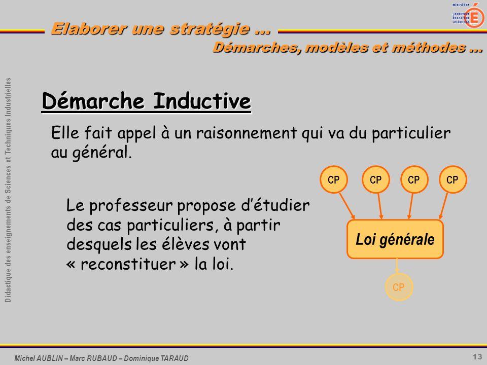 13 Didactique des enseignements de Sciences et Techniques Industrielles Elaborer une stratégie … Michel AUBLIN – Marc RUBAUD – Dominique TARAUD Démarc