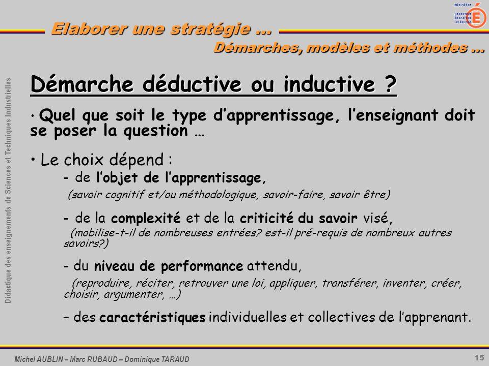 15 Didactique des enseignements de Sciences et Techniques Industrielles Elaborer une stratégie … Michel AUBLIN – Marc RUBAUD – Dominique TARAUD Démarc