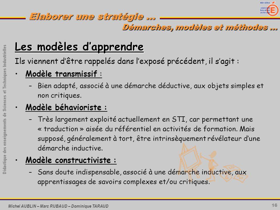 16 Didactique des enseignements de Sciences et Techniques Industrielles Elaborer une stratégie … Michel AUBLIN – Marc RUBAUD – Dominique TARAUD Les mo
