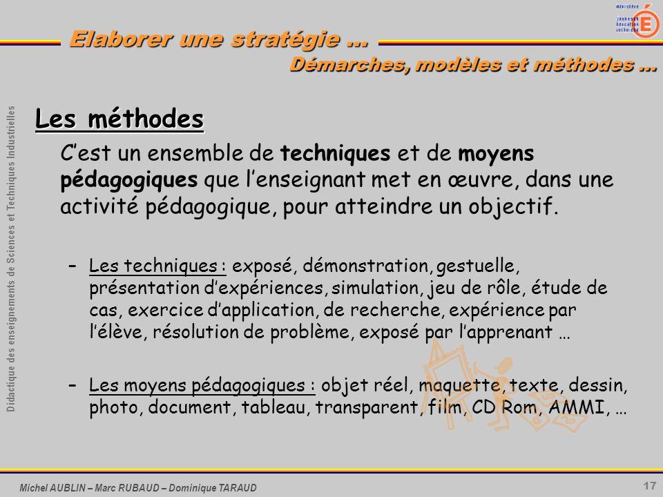 17 Didactique des enseignements de Sciences et Techniques Industrielles Elaborer une stratégie … Michel AUBLIN – Marc RUBAUD – Dominique TARAUD Les mé