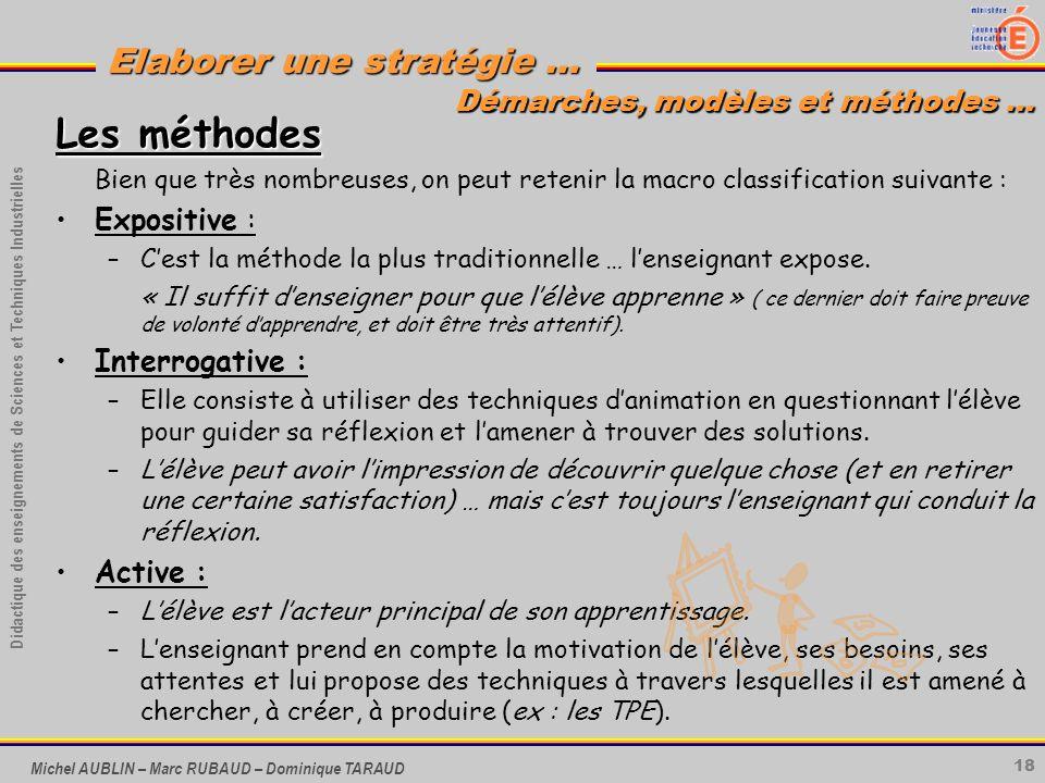 18 Didactique des enseignements de Sciences et Techniques Industrielles Elaborer une stratégie … Michel AUBLIN – Marc RUBAUD – Dominique TARAUD Les mé