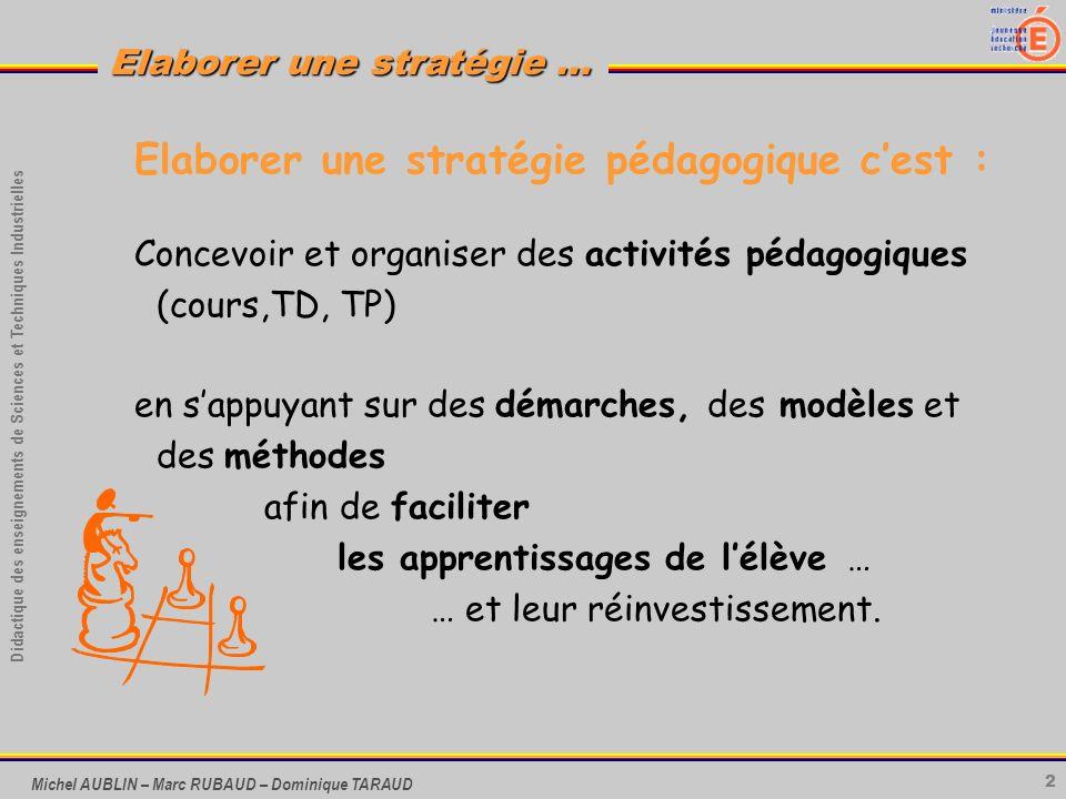 2 Didactique des enseignements de Sciences et Techniques Industrielles Elaborer une stratégie … Michel AUBLIN – Marc RUBAUD – Dominique TARAUD Elabore
