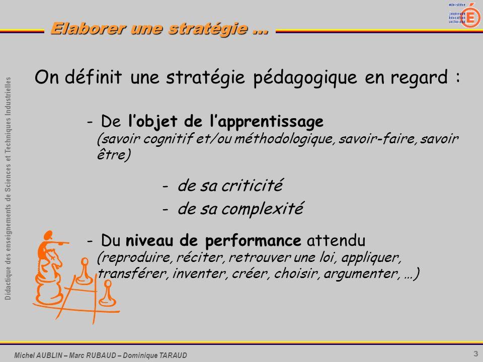 3 Didactique des enseignements de Sciences et Techniques Industrielles Elaborer une stratégie … Michel AUBLIN – Marc RUBAUD – Dominique TARAUD On défi